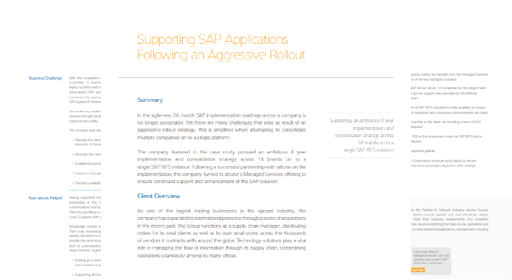 Supporting SAP Applications Following an Aggressive Rollout
